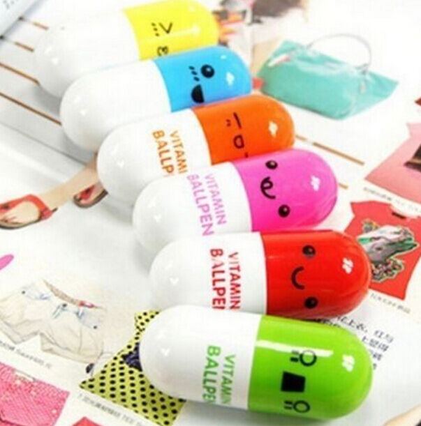 FD473 Cute Vitamin Pill Capsule Ball Pen Ballpen Gel Pen Gift Random Color 1PC:)