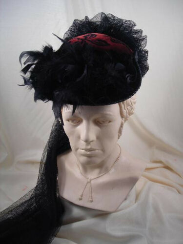 Victorian Style Hats, Bonnets, Caps, Patterns    ELSIE MASSEY Victorian Black Small French Hat with Burgundy Floral Velvet Crown  $72.00 AT vintagedancer.com