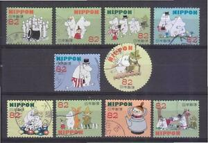JAPAN-2015-MOOMIN-CARTOON-82-YEN-COMP-SET-OF-10-STAMPS-IN-FINE-USED-CONDITION