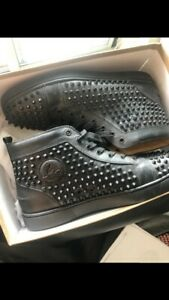 new concept bd70b 355c9 Details about 100% Authentic Louis Spikes Black Leather Christian Louboutin  Red bottoms