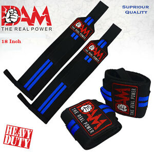 18-INCH-BODYBUILDING-WEIGHT-LIFTING-GYM-TRAINING-WRIST-SUPPORT-BAR-STRAPS-WRAPS