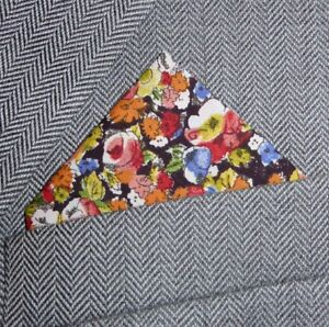 SUPERNOVA Liberty Fabric Pink Blue Floral Pocket Square Suit Handkerchief 60s