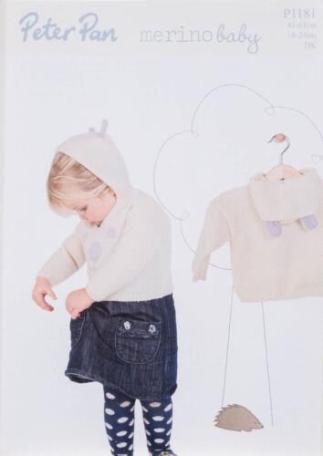 Peter Pan Knitting Pattern 1181 Baby Teddy  Hooded Sweater DK 41-61cm