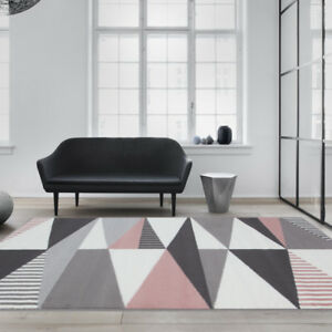 Modern Blush Pink Grey Geometric Rugs