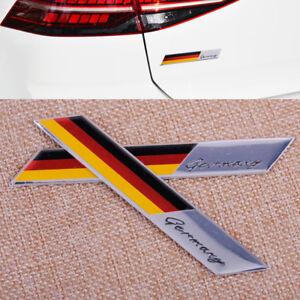 2x-Alemania-Bandera-Alemana-De-Metal-insignia-del-coche-Pegatina-Decoracion