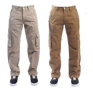 Men-039-s-ETO-Cargo-Combat-Jeans-Latest-Designer-Pants-Stylish-Pocket-Beige-28-42