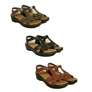 9615598e241 Image is loading NEW-CLARKS-HAYLA-FLUTE-LEATHER-WEDGES-SANDALS-SHOES-