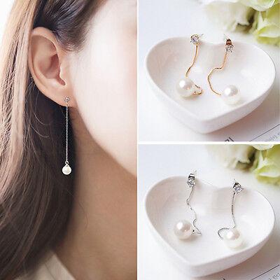Women Korean Tassel Pearl Rhinestone Ear Studs Drop Dangle Earrings Jewelry Nice