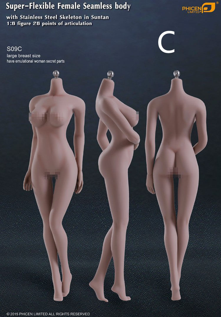 1/6 Phicen Steel bone female body Wheat Color Physical details clearer S09C
