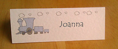 10 LARGE PLACE NAME CARDS BIRTHDAY CHRISTENING TRAIN BLUE PINK YELLOW GREEN