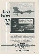 1952 Phillips 66 Aviation Gas Ad 1909 & 1951 Speed Records Douglas Skyrocket