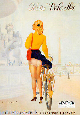 BICYCLE PARIS GIRL BIKING UNDERWEAR PANTS CULOTTE VELO SKI VINTAGE POSTER REPRO