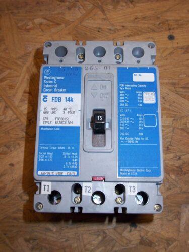 CUTLER HAMMER FDB FDB3015L 3 POLE 15 AMP 600V BREAKER *