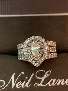 Neil Lane Diamond Engagement Ring And Matching Wedding Bands Pear Ebay