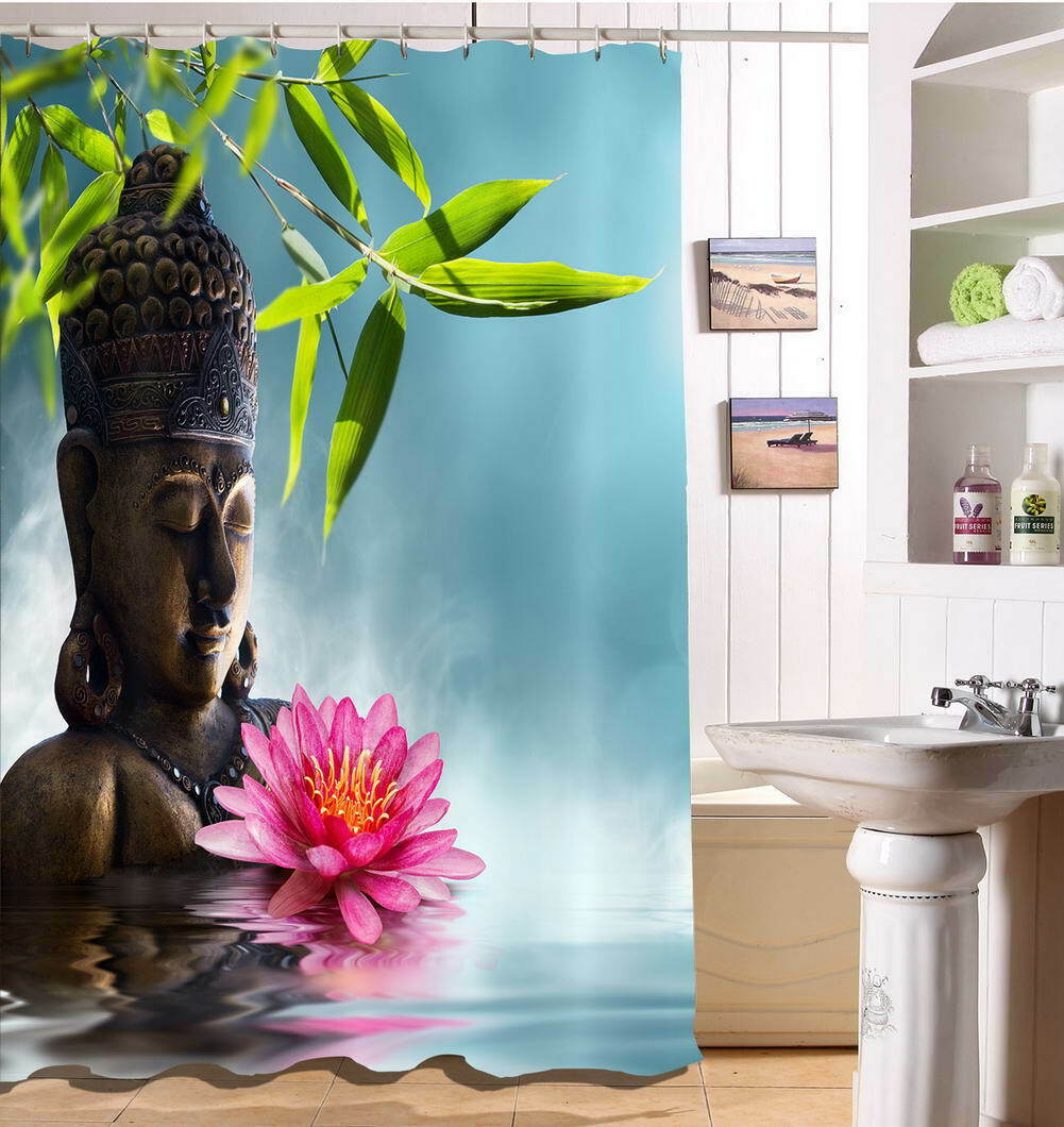 Buddha Water Waterproof Bathroom Polyester Shower Curtain Liner Resistant 1c7a4b