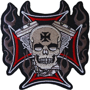Skull-Cross-Patch-Iron-Sew-On-Cloth-Embroidered-Badge-Motorbike-Motorcycle-Biker