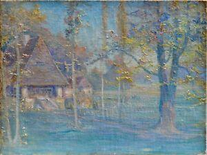 Tableau-ancien-034-Paysage-impressionniste-034-Vers-1900