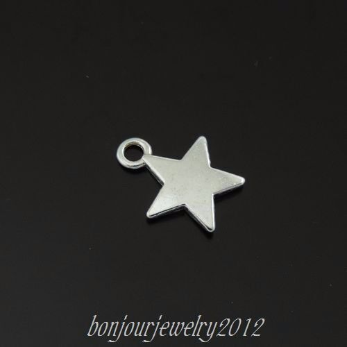 159PCS Vintage Silver Alloy Simple Five Star Pendant Charms Jewelry 13*10*1mm