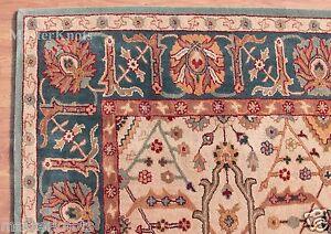 Eva-Cream-Blue-8-039-x-10-039-Persian-Style-Handmade-Tufted-100-Wool-Area-Rug-Carpet