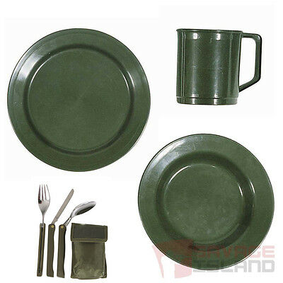 Camping Plate, Bowl, Mug & Folding KFS Knife Fork Spoon Cutlery Set Cadets Army
