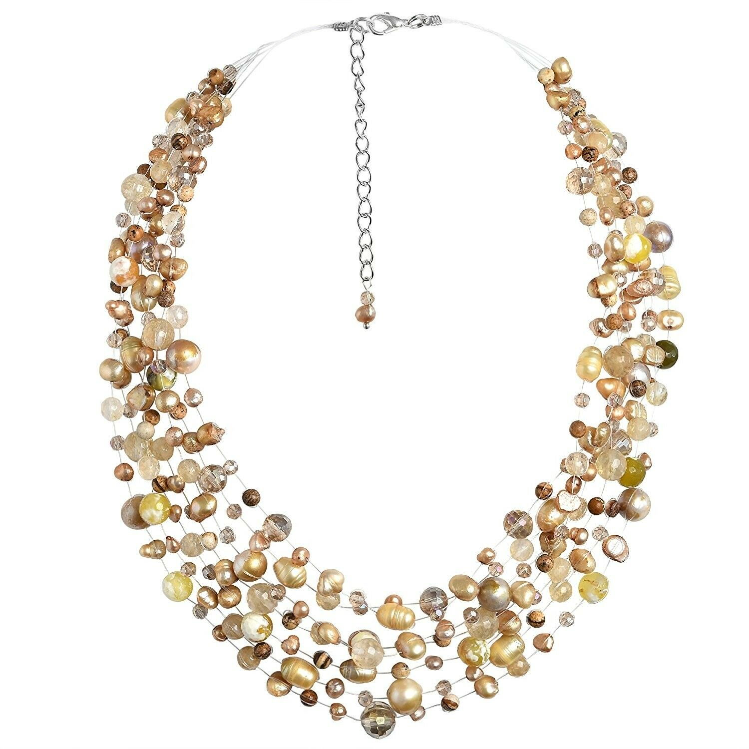 Classy Cascades Of Cultured Freshwater Pearl And Reconstructed Agate Pearl