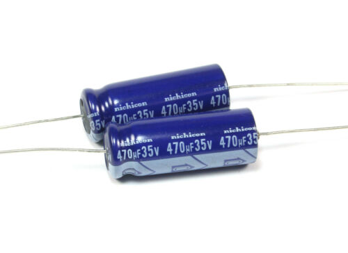 4pcs Nichicon 470uf 35V Axial Electrolytic Capcitor, 8.5mm X 21mm