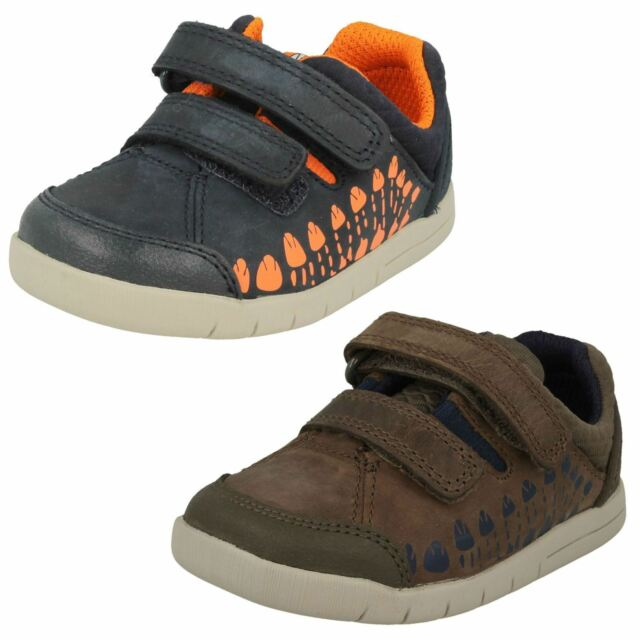 INFANT BOYS CLARKS TINY TRAIL NAVY LEATHER CASUAL PRE WALKING CRUISER SHOES SIZE