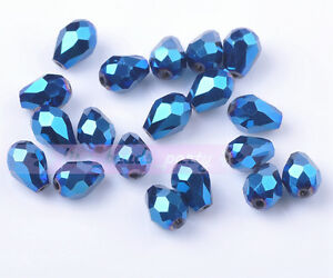 50pcs-7X5mm-Crystal-Glass-Beads-Facted-Loose-Beads-Free-Shipping-Plated-Blue