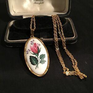 Vintage Gold Tone & Porcelain Pendant Necklace-Rose Design-Sphinx C144 #3795