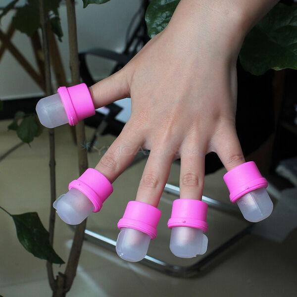 10er SetTragbar Nail Art Soaker Acryl UV Gel Fingerhüte Nagellack Entferner Neu