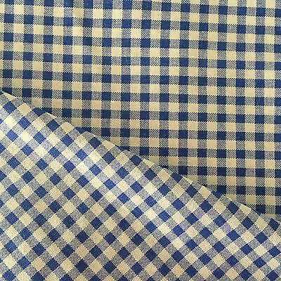 50x150cm Cotton Linen Fabric DIY Home Deco Fabric White & Blue Check Grid F605 B
