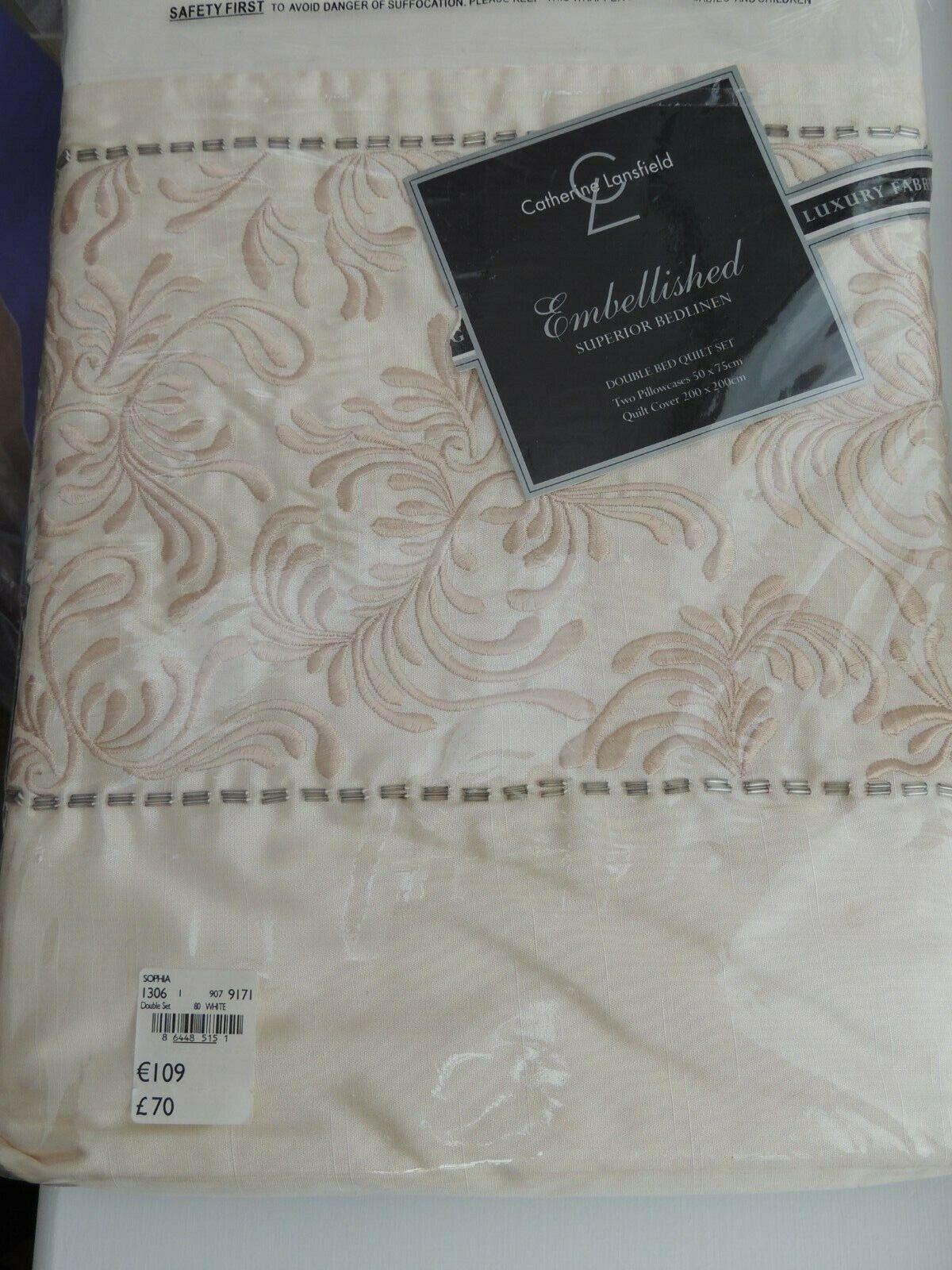 Catherine Lansfield Embellished Superior Bedlinen Double Bed Quilt Set in Sophia