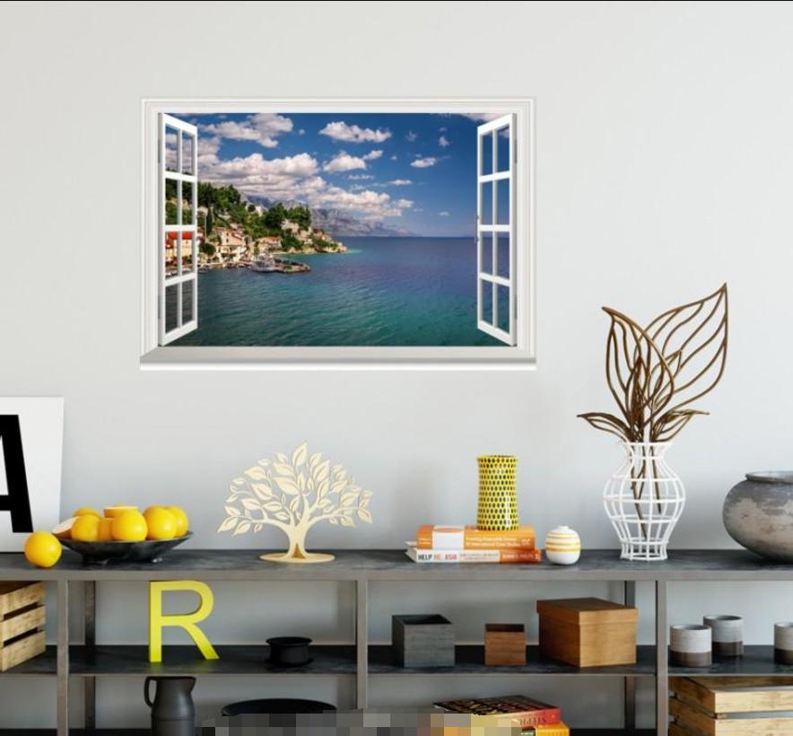 3D Islands Sky Cloud 4 Open Windows Mural Wall Print Decal Deco AJ Wallpaper Ivy