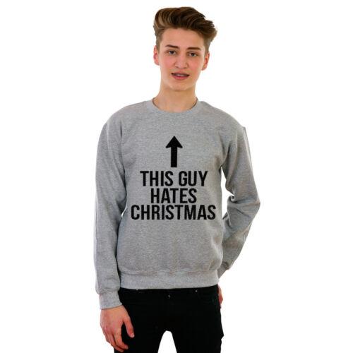 FUNNY CHRISTMAS JUMPER GRINCH BAH HUMBUG NOVELTY THIS GUY HATES XMAS SWEATSHIRT