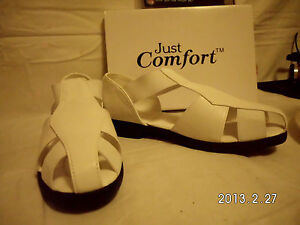 Ladie-039-s-White-Just-Comfort-Fisherman-Flats-Sandals-6-6-5-7-7-5-8-8-5-9-9-5-11-W