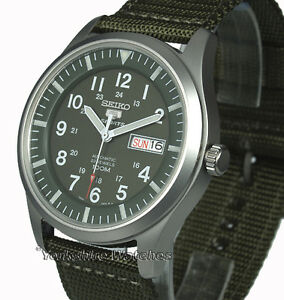 New SEIKO 5 SPORT MILITARY KHAKI AUTO With FABRIC BUCKLE STRAP SNZG09K1 - <span itemprop='availableAtOrFrom'>Bradford, United Kingdom</span> - Returns are accepted for a refund as long as we are informed within 14 days, providing that no alteration to bracelets has been made, it has not been worn at all and that all the tapes,  - Bradford, United Kingdom