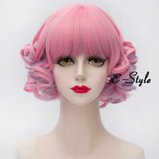 30CM Short Curly Light Pink Mixed Blue Lolita Harajuku Women Cosplay Party Wig