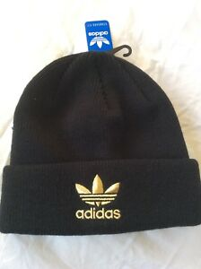 8b4b6238016 Adidas - Men s Winter Knit Hat - Black with Awesome Gold Logo - OSFM ...