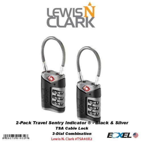 Lewis N. Clark (2)-PackTravel TSA Cable Locks 3-Dial, Black / Silver #TSA40X2