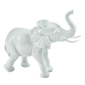 Textured White Ceramic Elephant Statue Figurine Collectible Home Decor