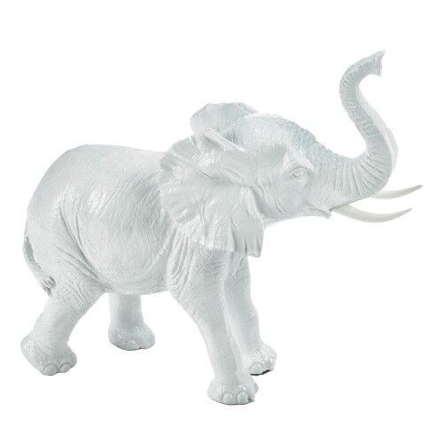 Small White Ceramic Elephant Accent Plus