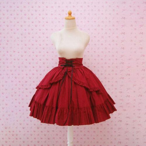 Medieval Renaissance Women Ruffle Lace up Princess Skirt Lolita Girl Cosplay