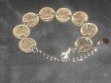ANTIQUE VINTAGE SILVER IRISH IRELAND CELTIC HARP/ RABBIT COIN BRACELET