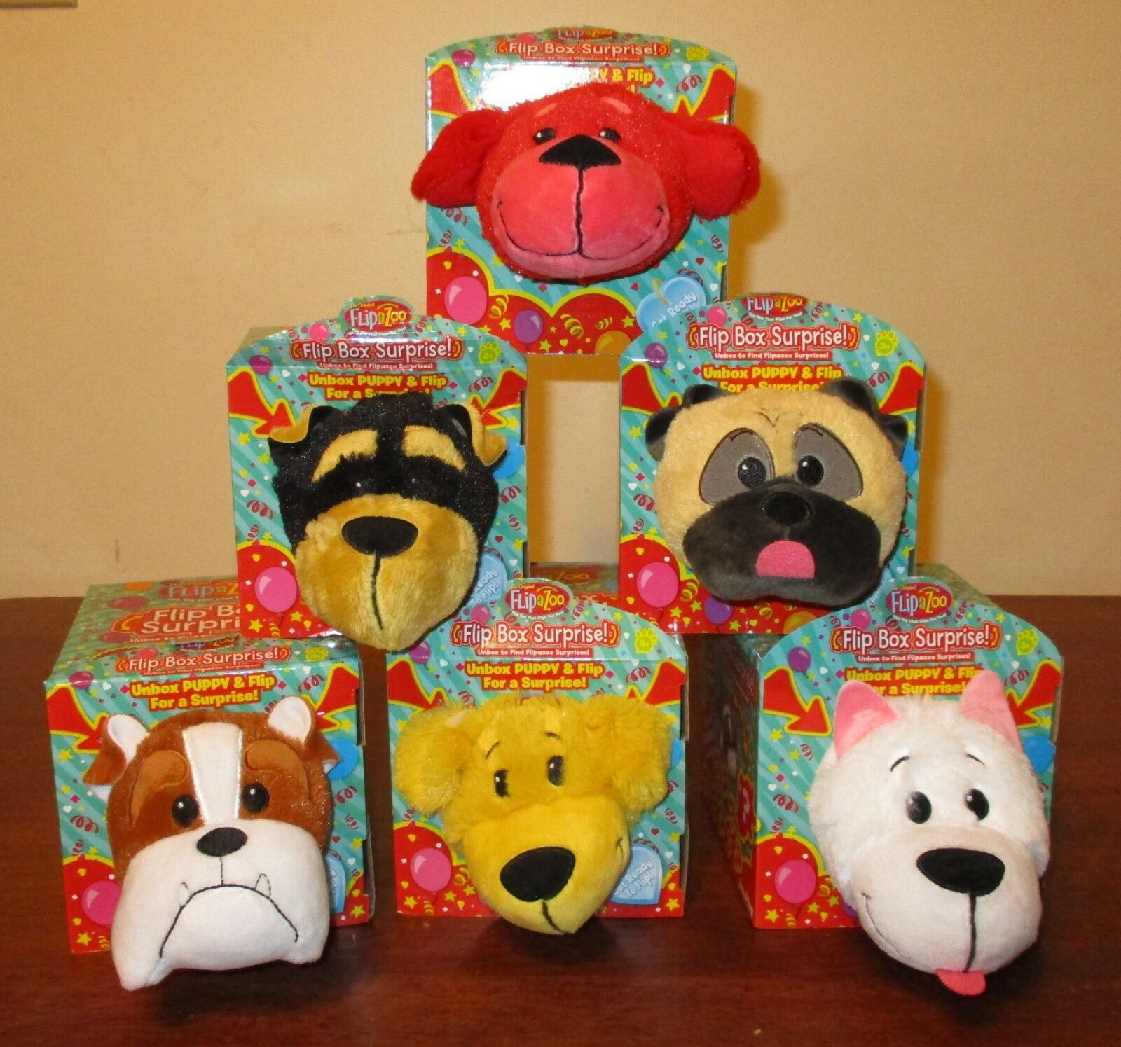 The Original FlipaZooFLIP BOX SURPRISE Lot Of 6 Different Puppies BRAND NEW