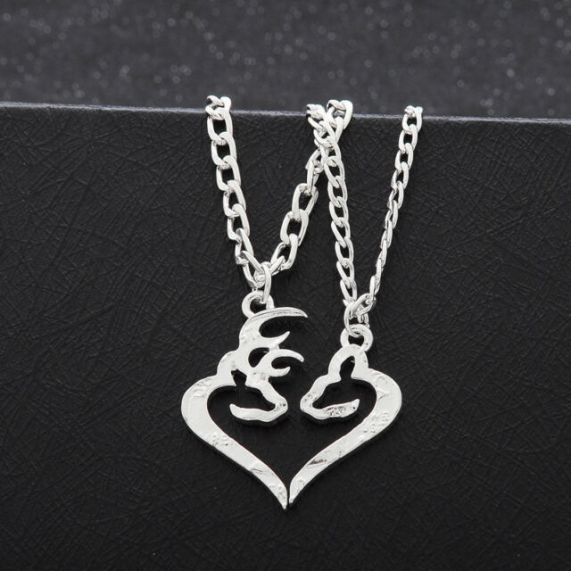 afdd0cdc33 Her Buck His Doe Head Heart Necklace 2 PC Set Browning Interlocking Deer  Couples