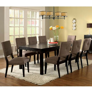 Modern Dining Room Furniture Set Dining Table w/ Chairs in Espresso CM3311T