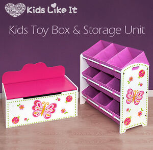Image Is Loading Girls PINK Wooden Butterfly TOY BOX Bench STORAGE