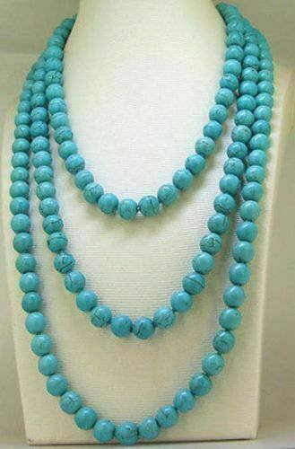 """48/"""" Turquoise Collier Rond 8//10mm Turquoise Gemstone Bead Necklace"""