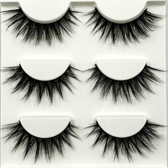 3 Pairs Natural Eye Lashes 3D Handmade Makeup Thick Fake Cross False Eyelashes