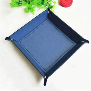 PU-Leather-Valet-Trinket-Folding-Tray-Collapsible-Phone-Key-Wallet-Coin-Box-WE